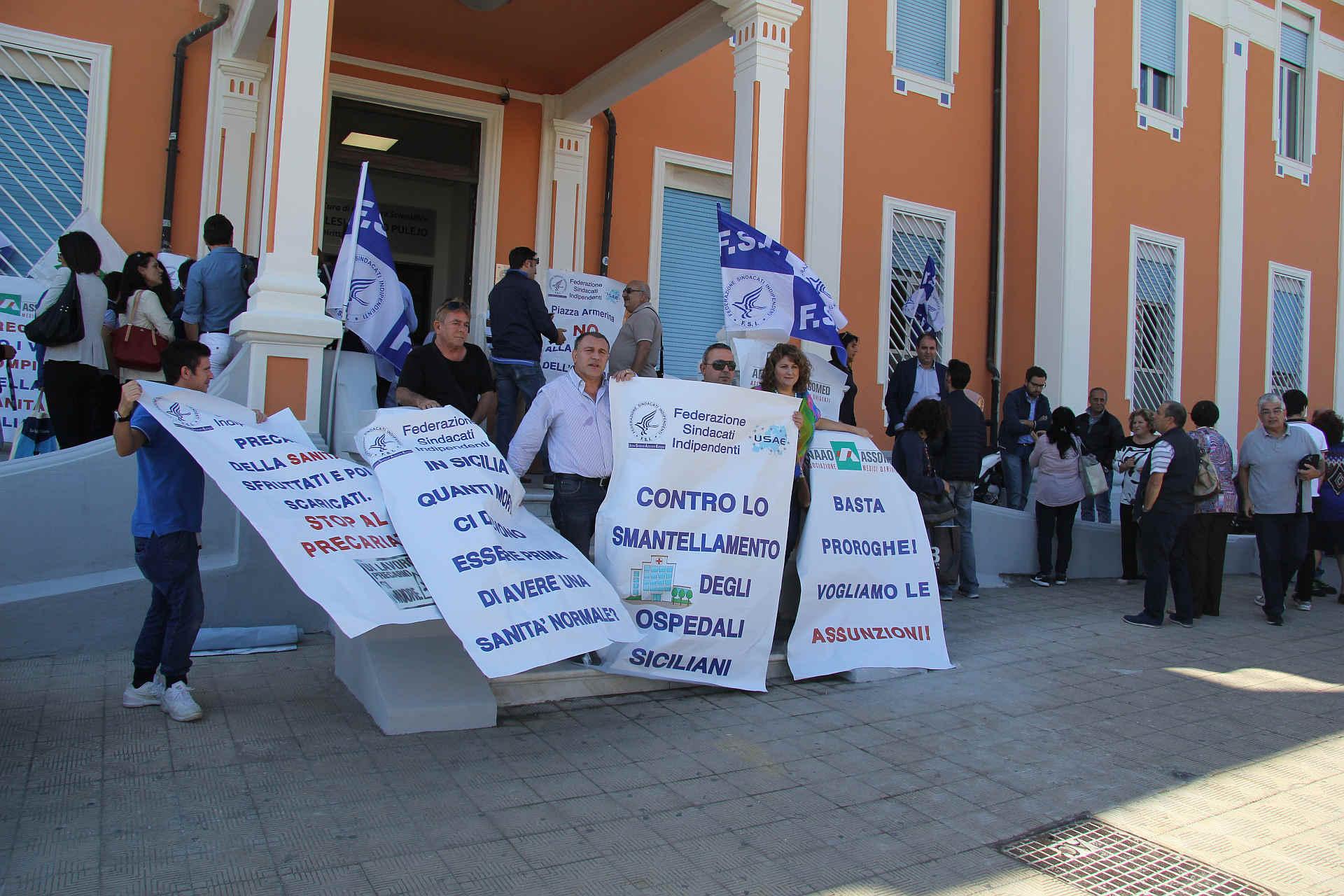 La protesta dei sindacati