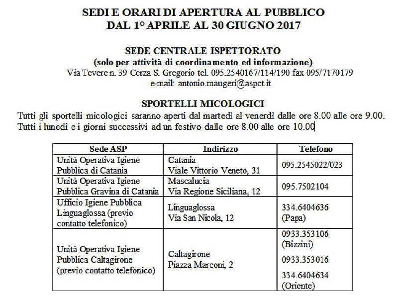 Sportelli micologici Asp Catania