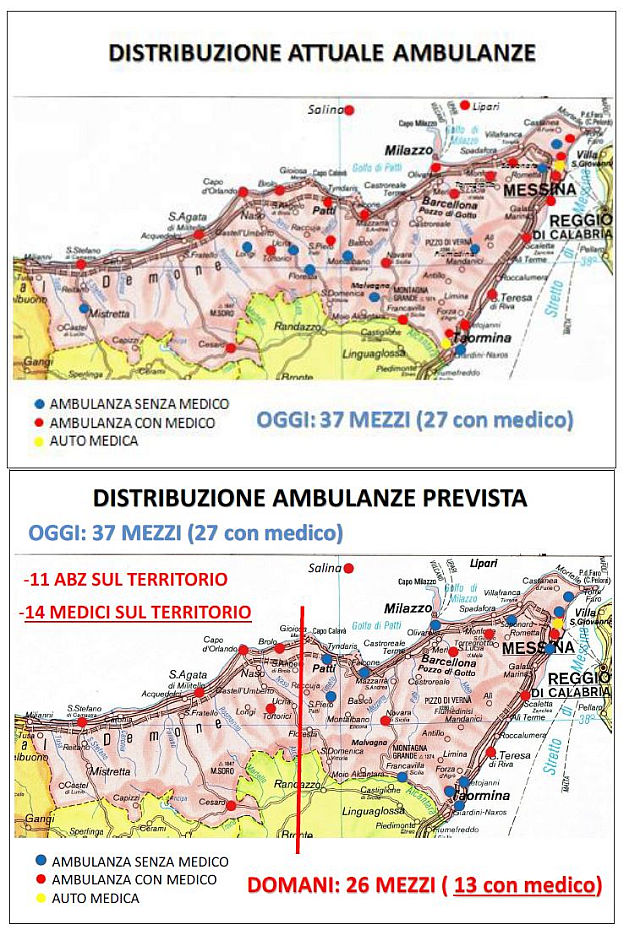 Ambulanze in provincia di Messina