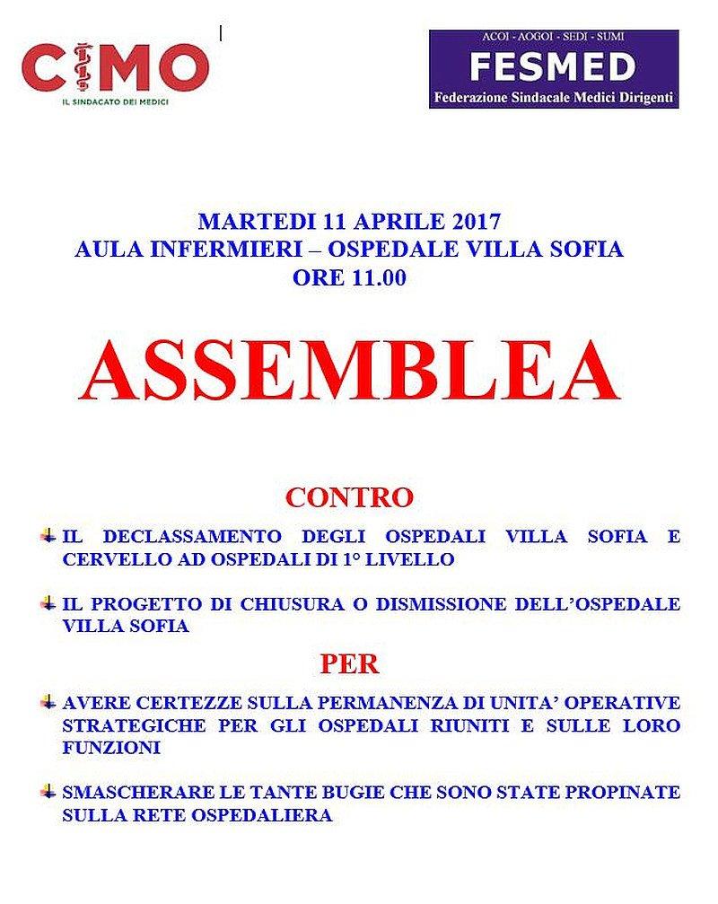 Villa Sofia- Cervello. Volantino assemblea Cimo Fesmed