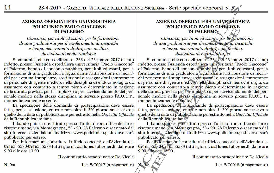 Due bandi Policlinico Giaccone di Palermo
