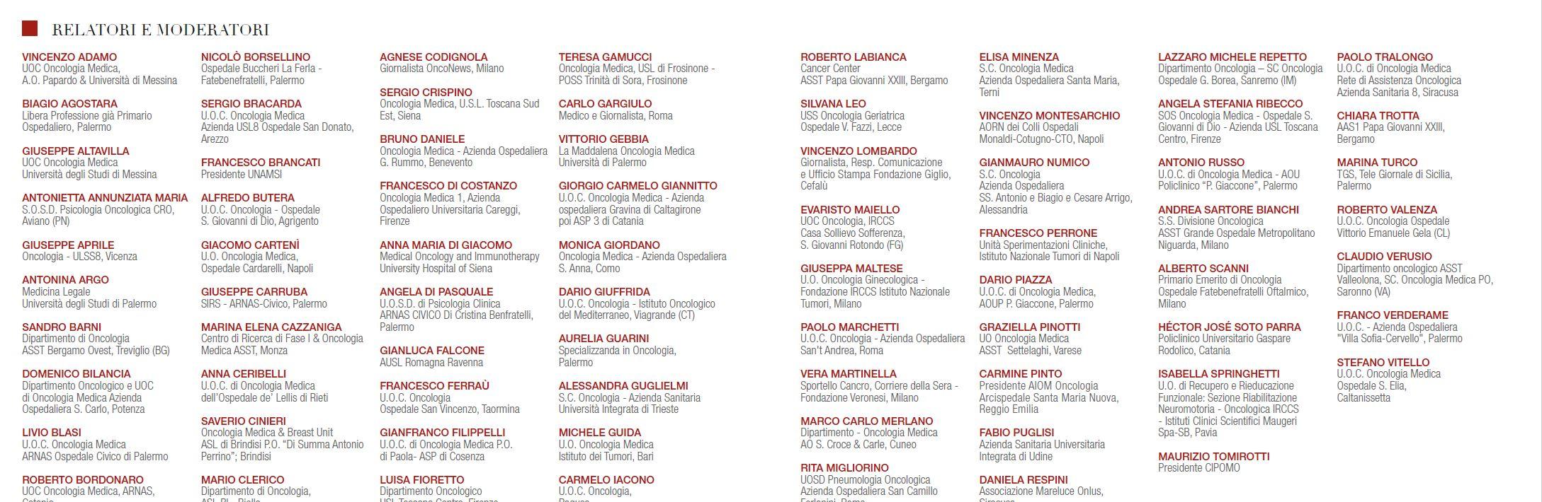 Relatori e moderatori congresso XXI congresso nazionale Cipomo a Palermo