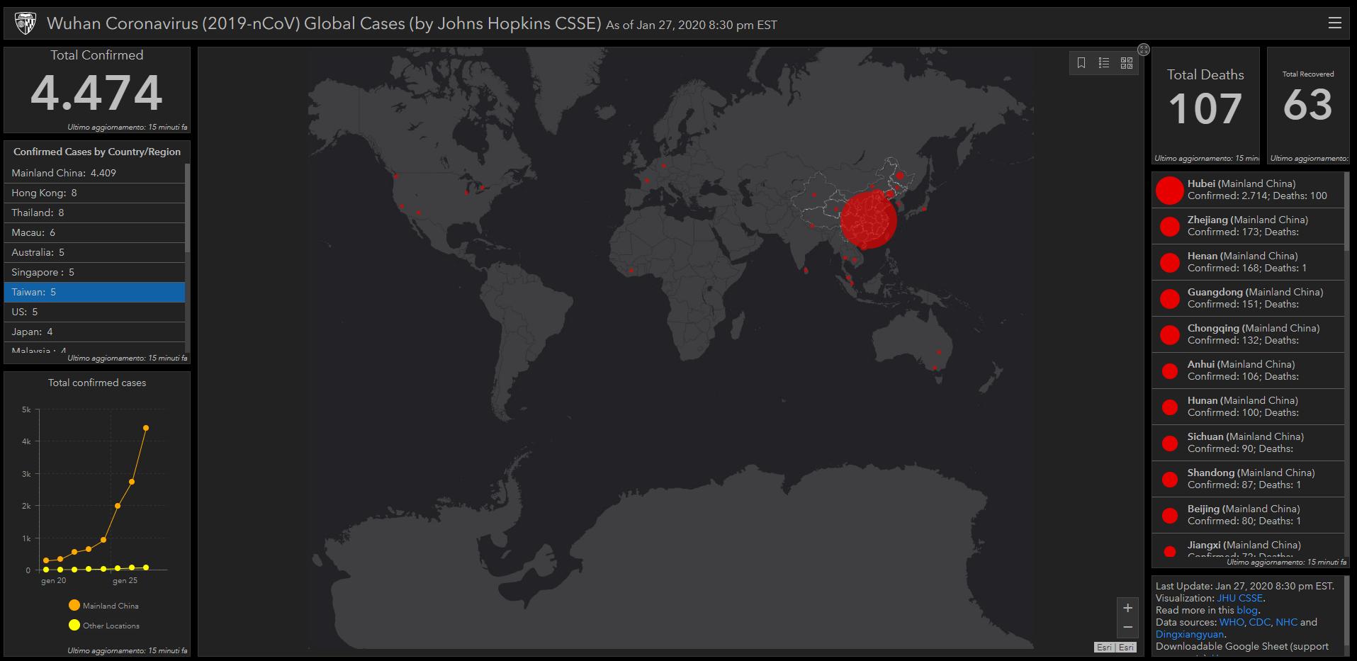 coronavirus mappa diffusione tempo reale